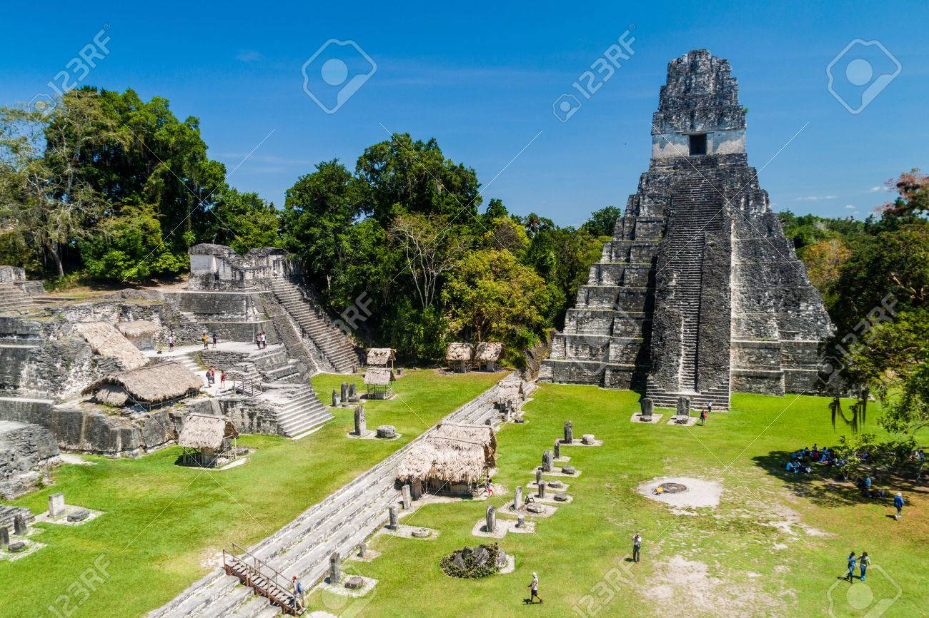 TIKAL, GUATEMALA - MARCH 14, 2016: Tourists at the Gran Plaza at the archaeological site Tikal, Guatemala - 79201839