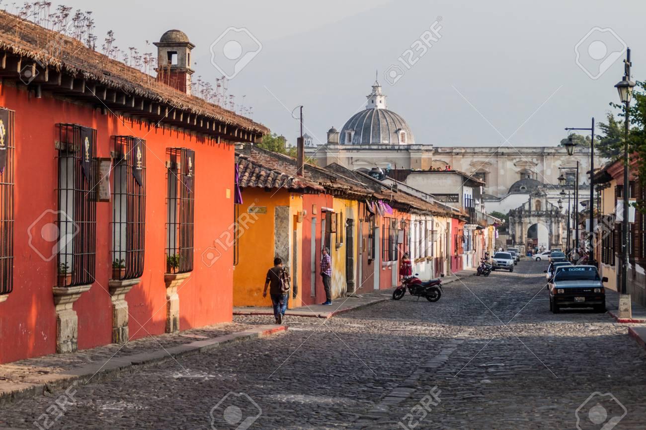 ANTIGUA, GUATEMALA - MARCH 27, 2016: Colorful colonial houses in Antigua, Guatemala - 78901449