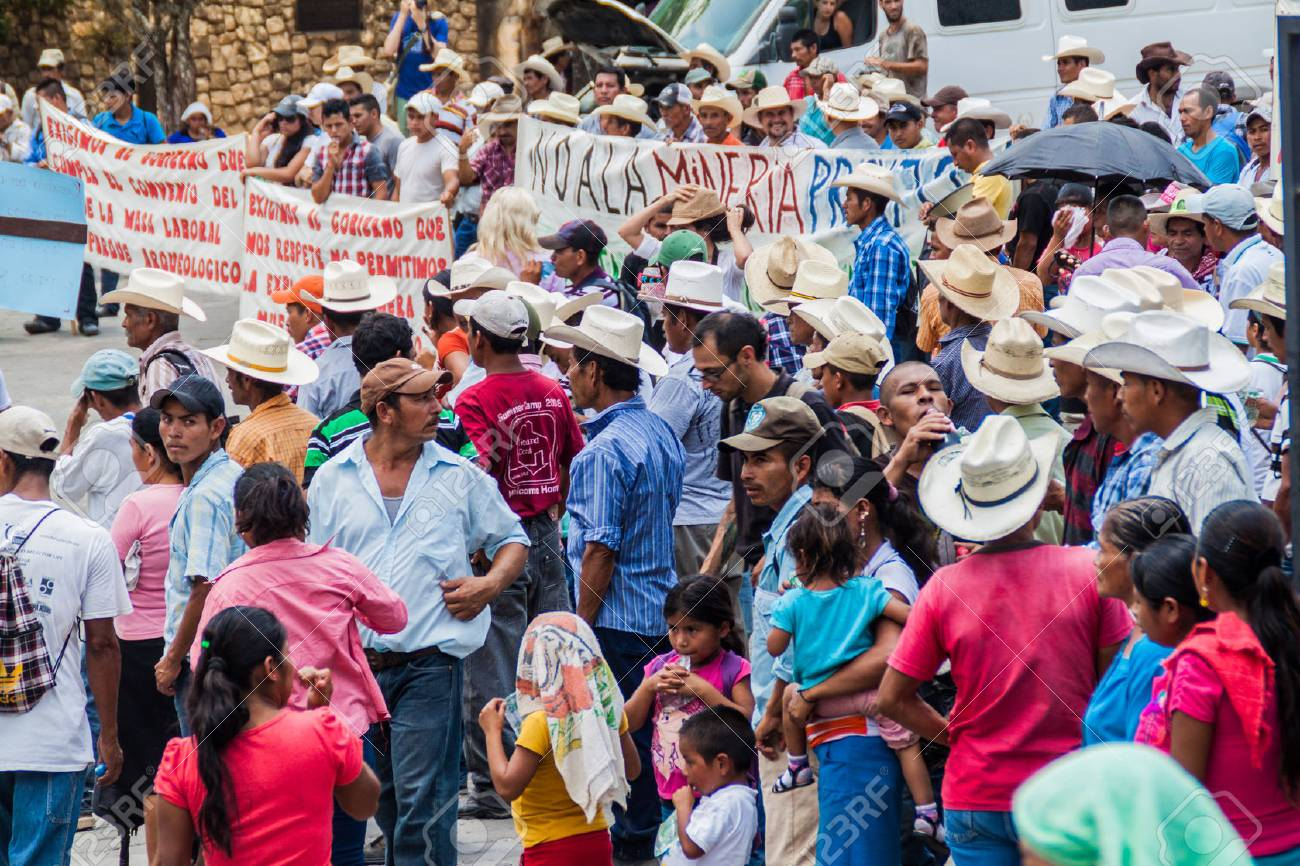 COPAN RUINAS, HONDURAS - APRIL 12, 2016: Indigenous people protest against minery near the archaeological park Copan, Honduras - 79043151
