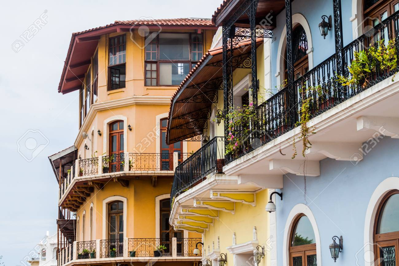 Colonial buildings in Casco Viejo (Old Town) of Panama City - 78965249