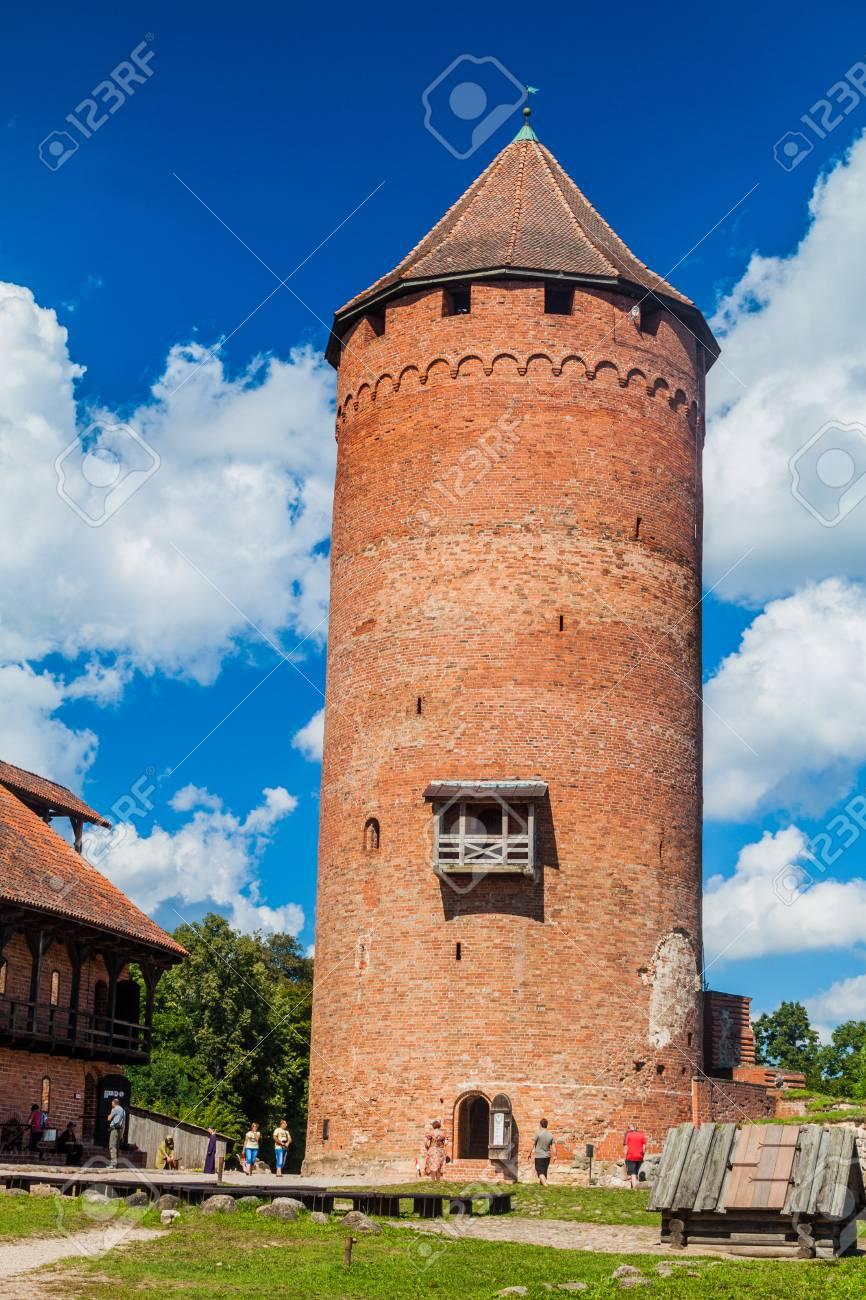 sigulda latvia august 20 2016 brick tower at turaida castle latvia
