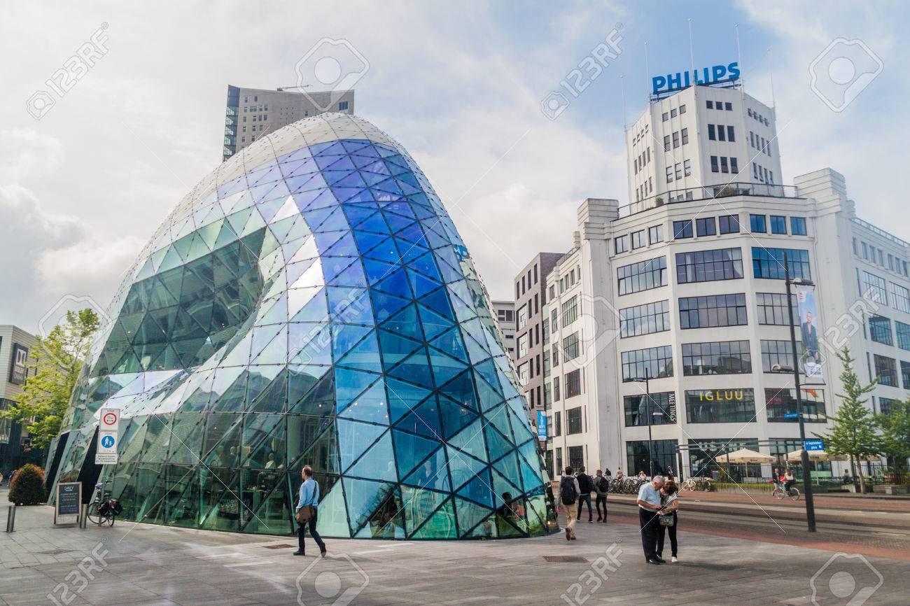 EINDHOVEN, NETHERLANDS - AUGUST 29, 2016: Modern architecture and Philips building in Eindhoven. - 84536481