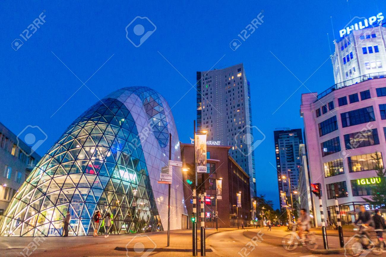 EINDHOVEN, NETHERLANDS - AUGUST 29, 2016: Modern architecture and Philips building in Eindhoven. - 84536483