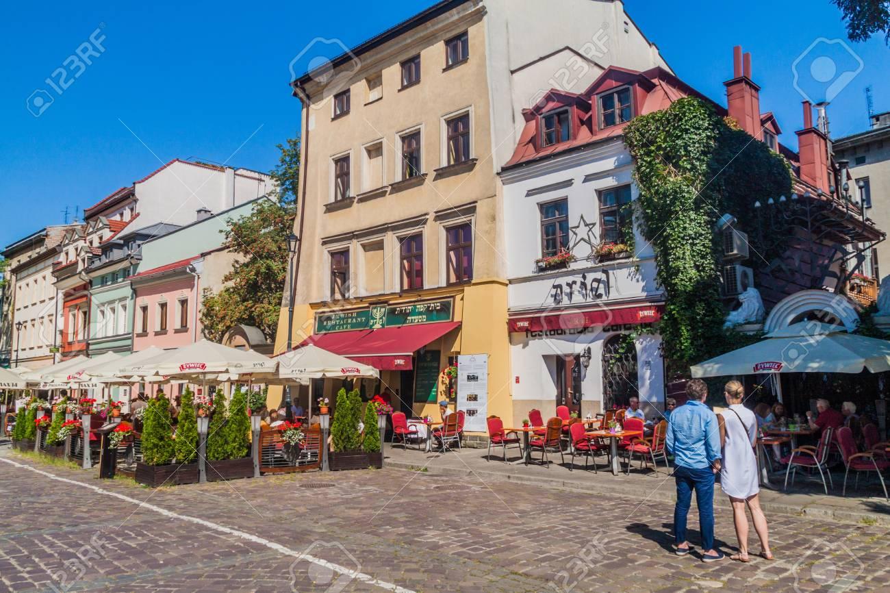 KRAKOW, POLAND - SEPTEMBER 4, 2016: Houses of Jewish Quarter (Kazimierz) of Krakow, Poland - 83838992
