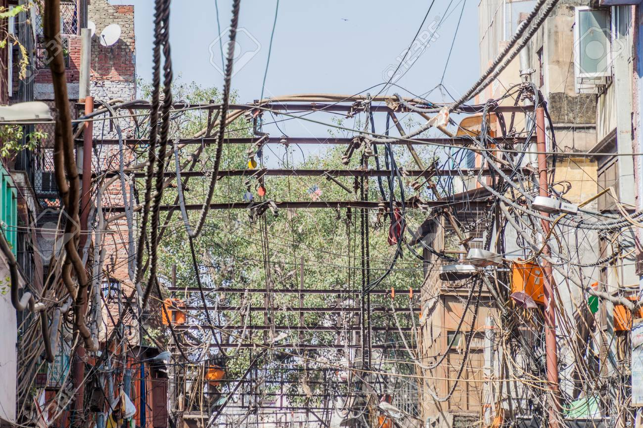 Marvelous Chaotic Mess Of Electric Cables In The Center Of Delhi India Stock Wiring Digital Resources Remcakbiperorg