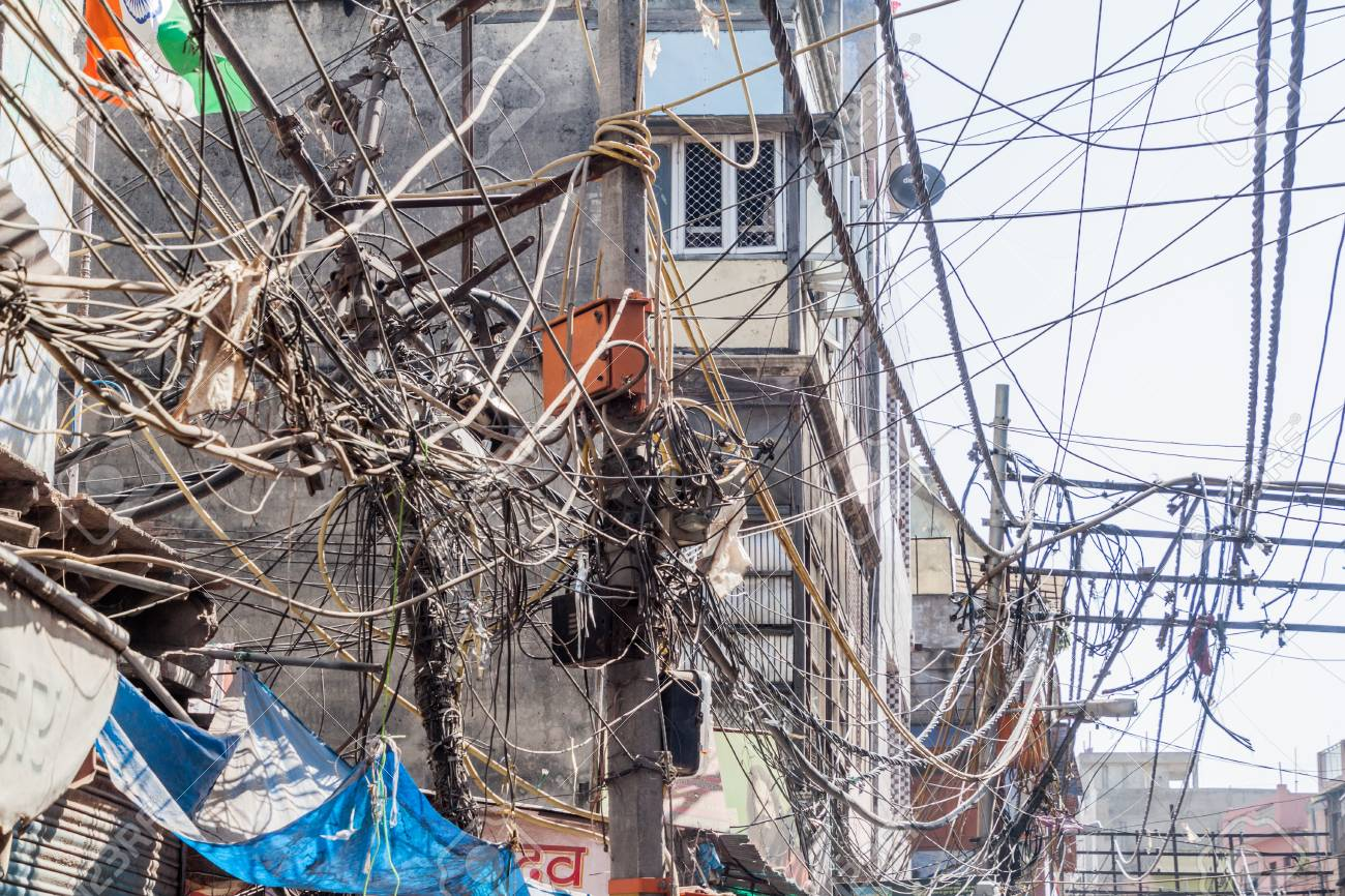 chaotic mess of electric cables in the center of delhi india stock rh 123rf com India Internet Wiring Utility Mess of Wires India