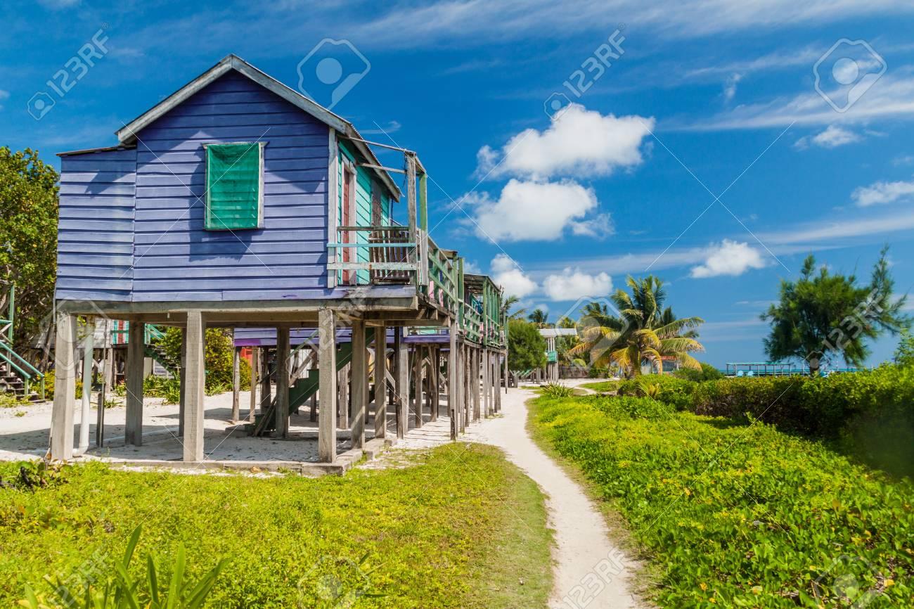 Stock photo wooden houses on stilts at caye caulker island belize