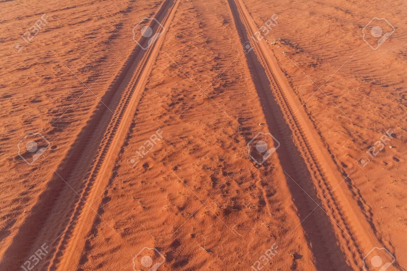 Tire tracks on a sand dune in Wadi Rum desert, Jordan - 151630249