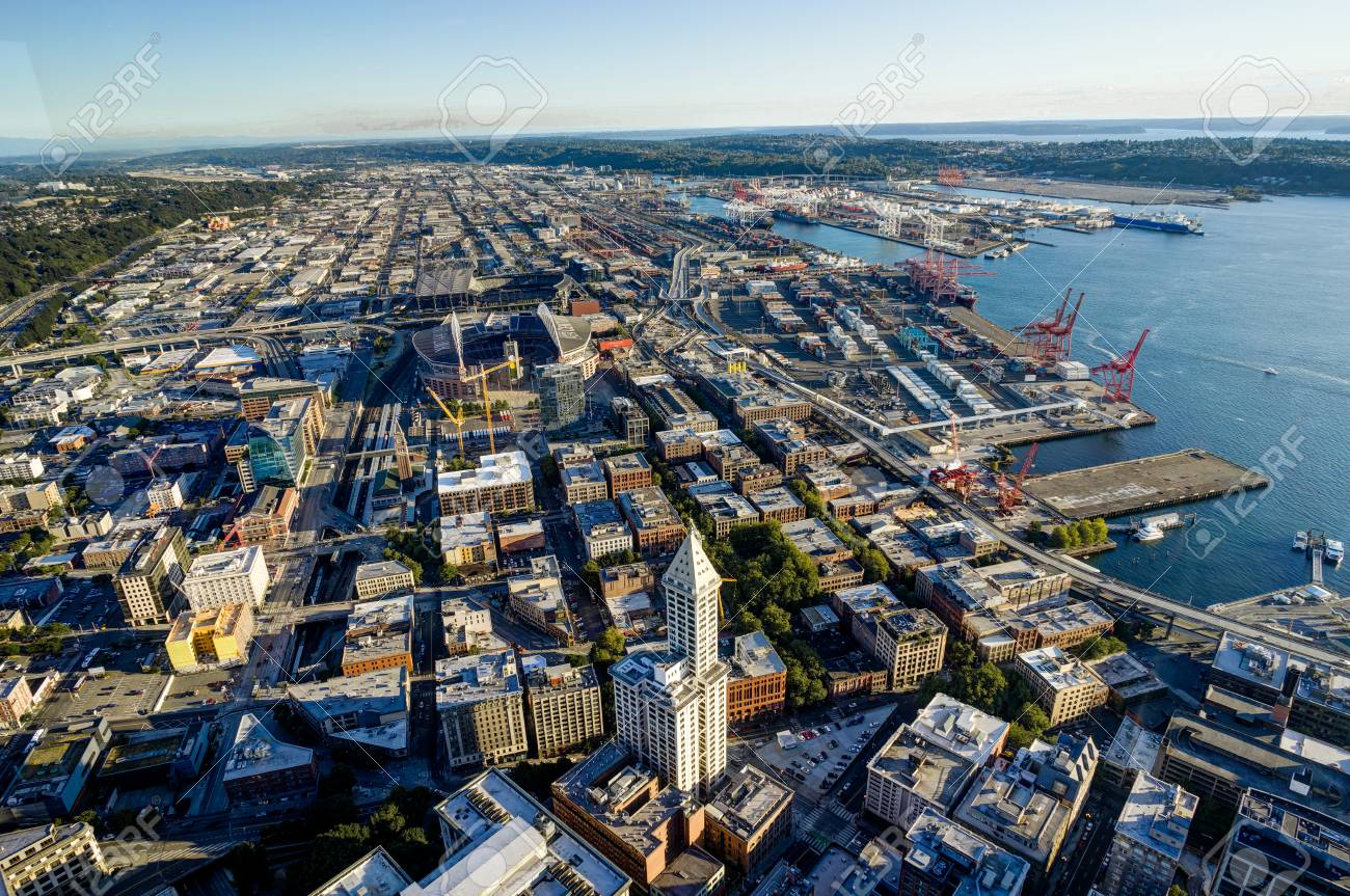 Sunset View From Sky View Observatory Over Seattle With