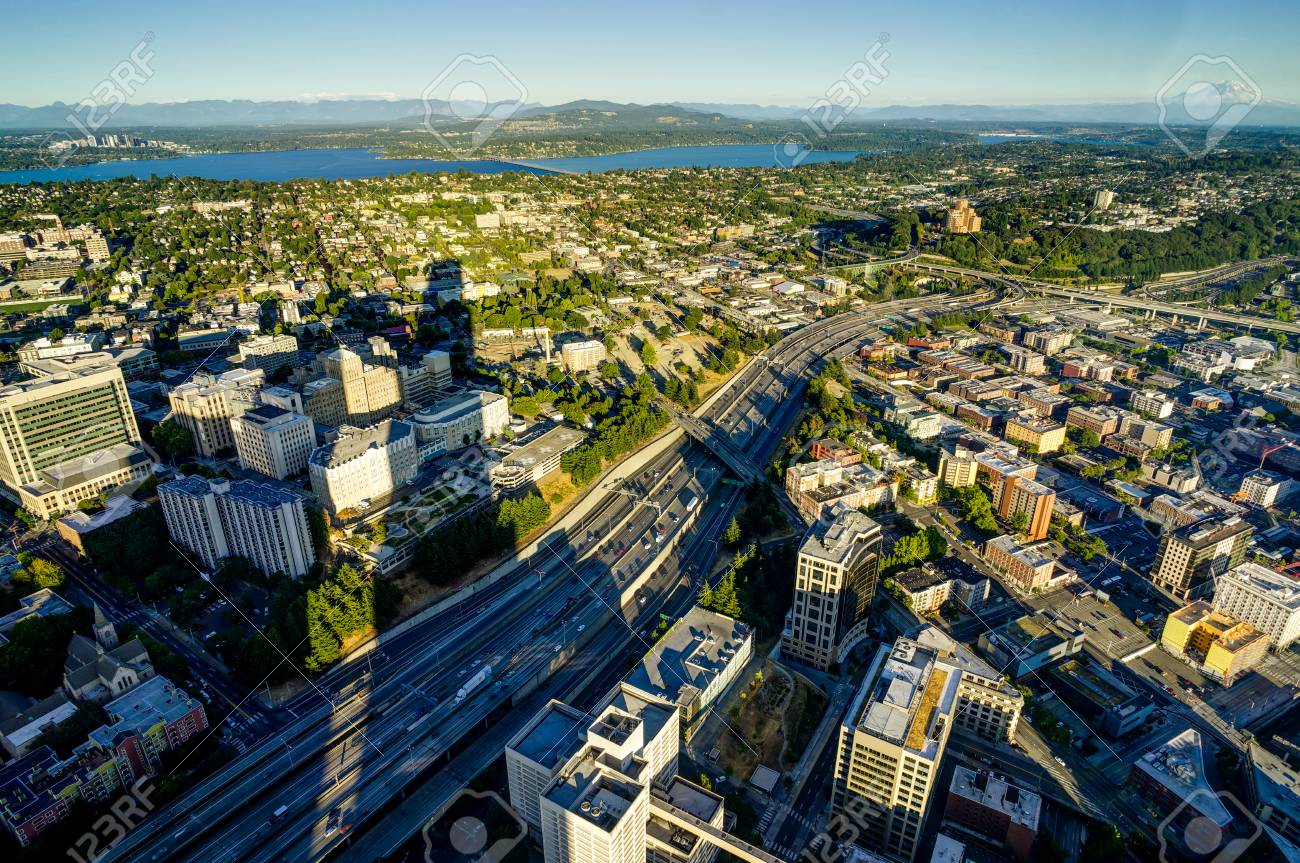 Sunset View from Sky View Observatory over Seattle with Space