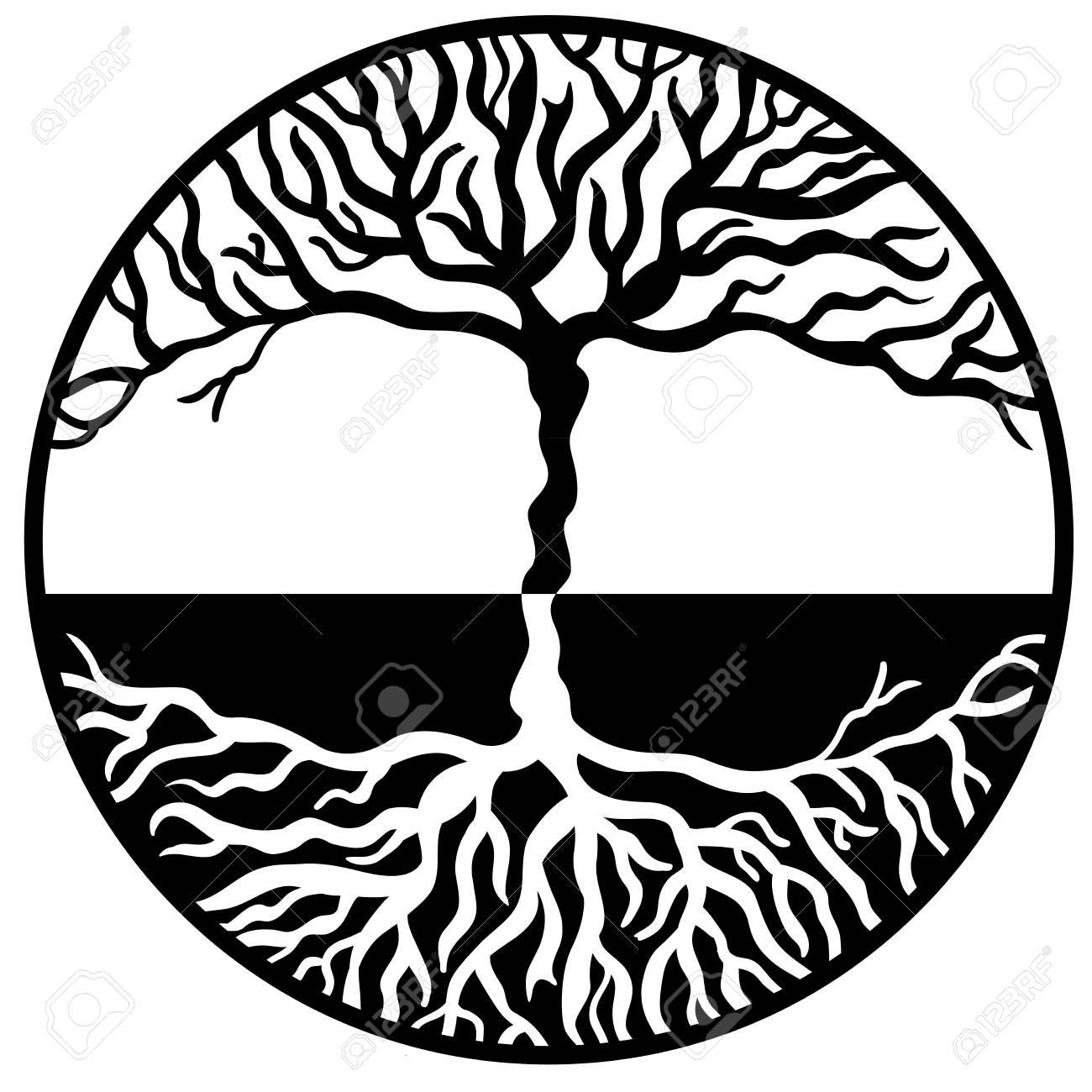 Hecho A Mano árbol De La Vida Símbolo Vector Ilustraciones