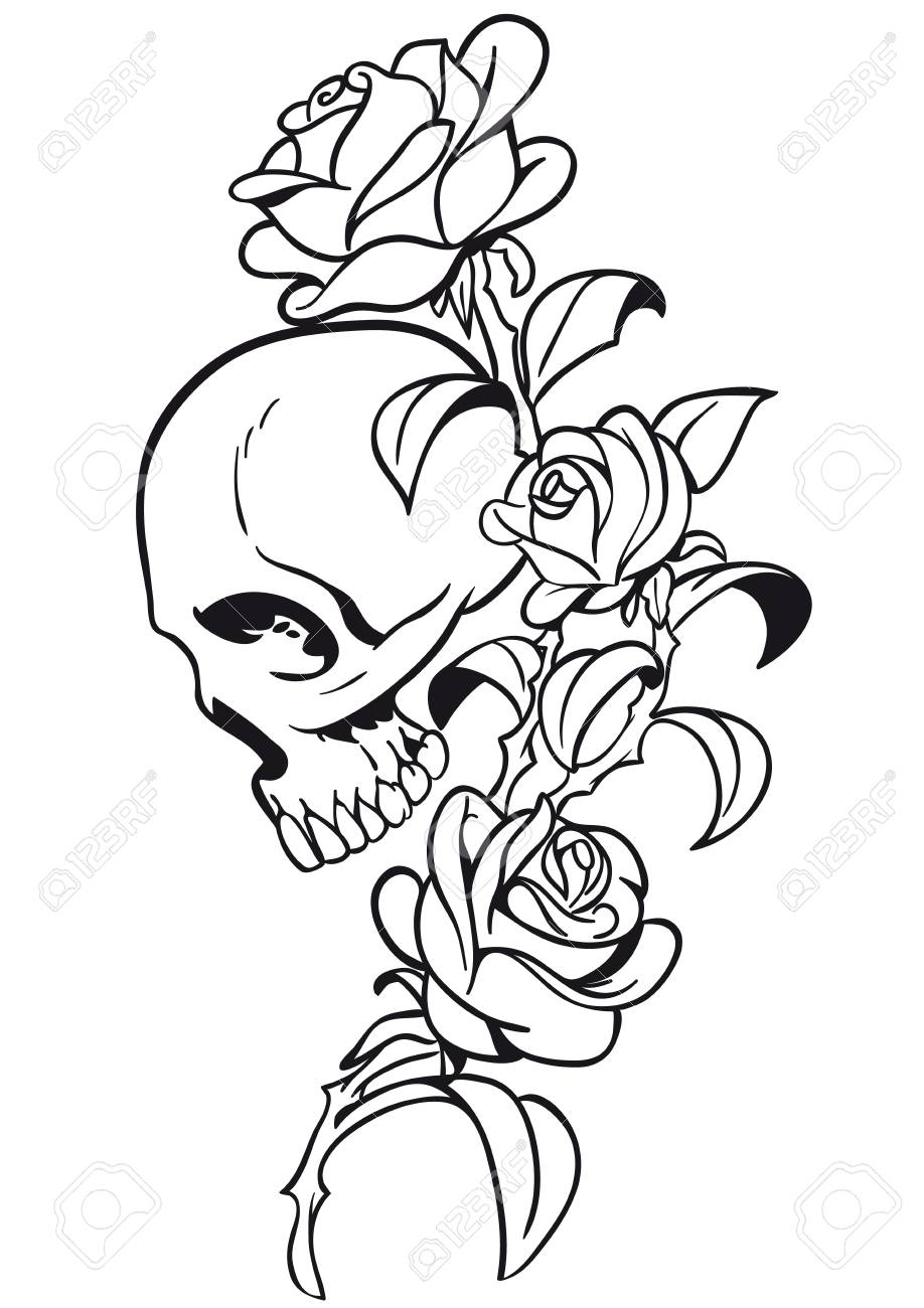 Skull With Rose Tattoo Vector Desihn Royalty Free Cliparts Vectors