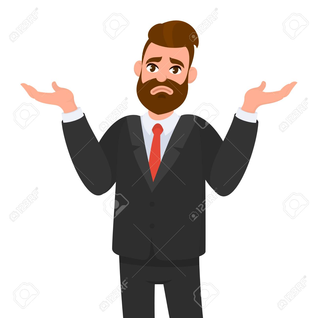 Oops. Sorry. I don't know. Young business man shrugs, shows helpless gesture and spread his hands, he does not know what to do. - 113999447