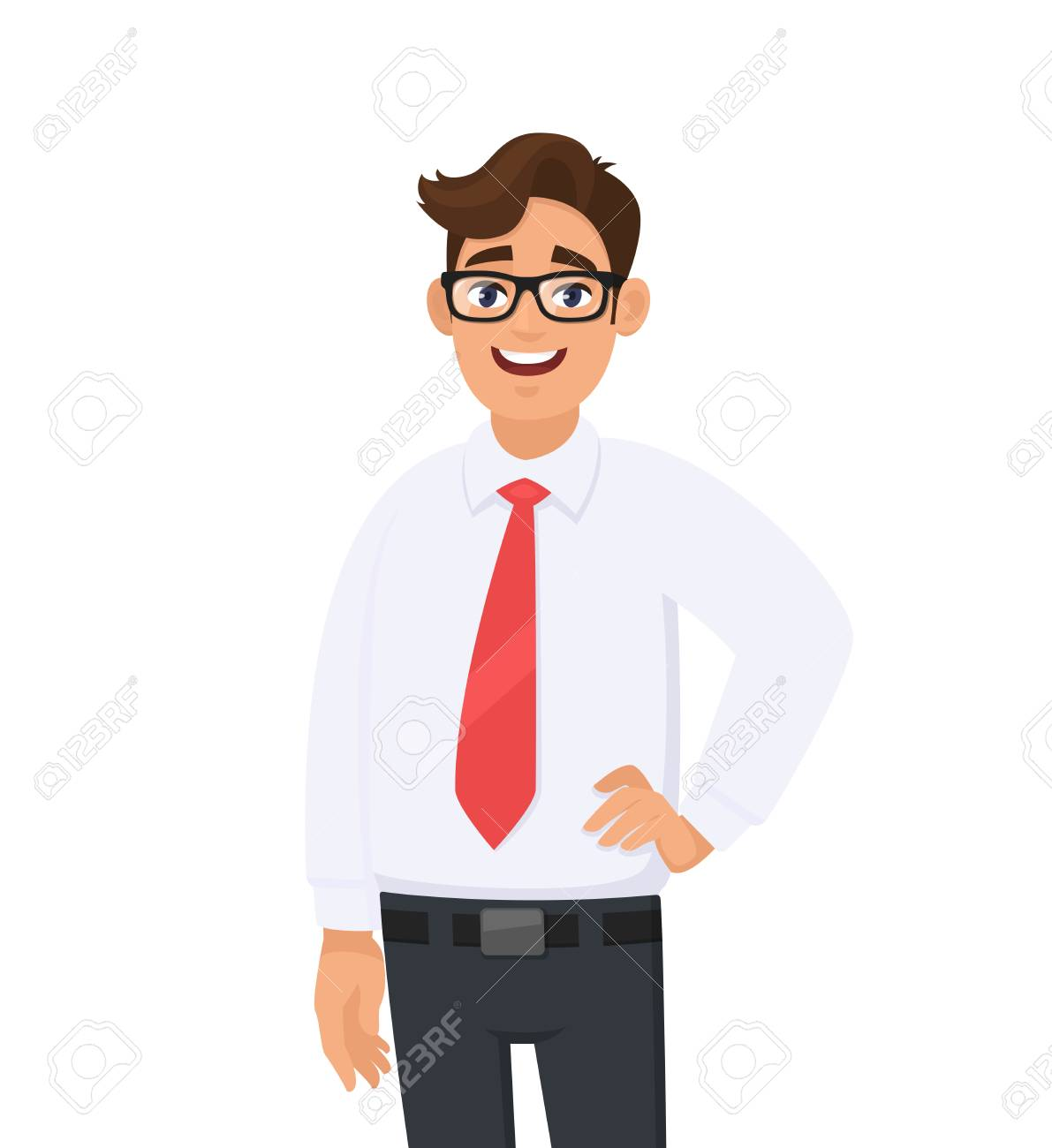 Portrait of confident handsome young businessman in white shirt and red tie, standing against white background. Human emotion and businessman concept illustration in vector cartoon flat style. - 125053486