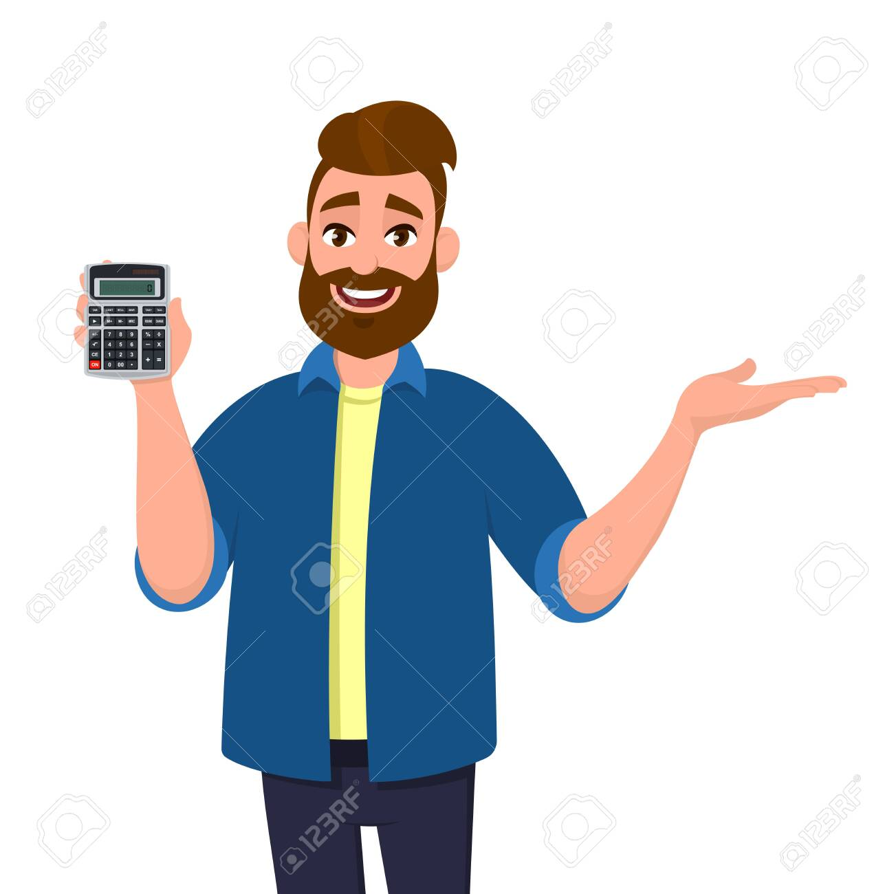 Happy bearded man showing or holding digital calculator device in hand and pointing, presenting something to copy space. Modern lifestyle, technology, business and finance, banking concept in cartoon. - 134599378