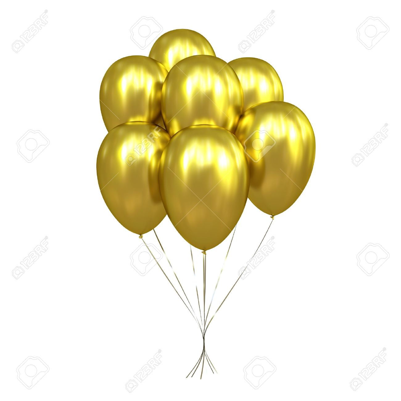 7 Golden Balloons Stock Photo - 21580749