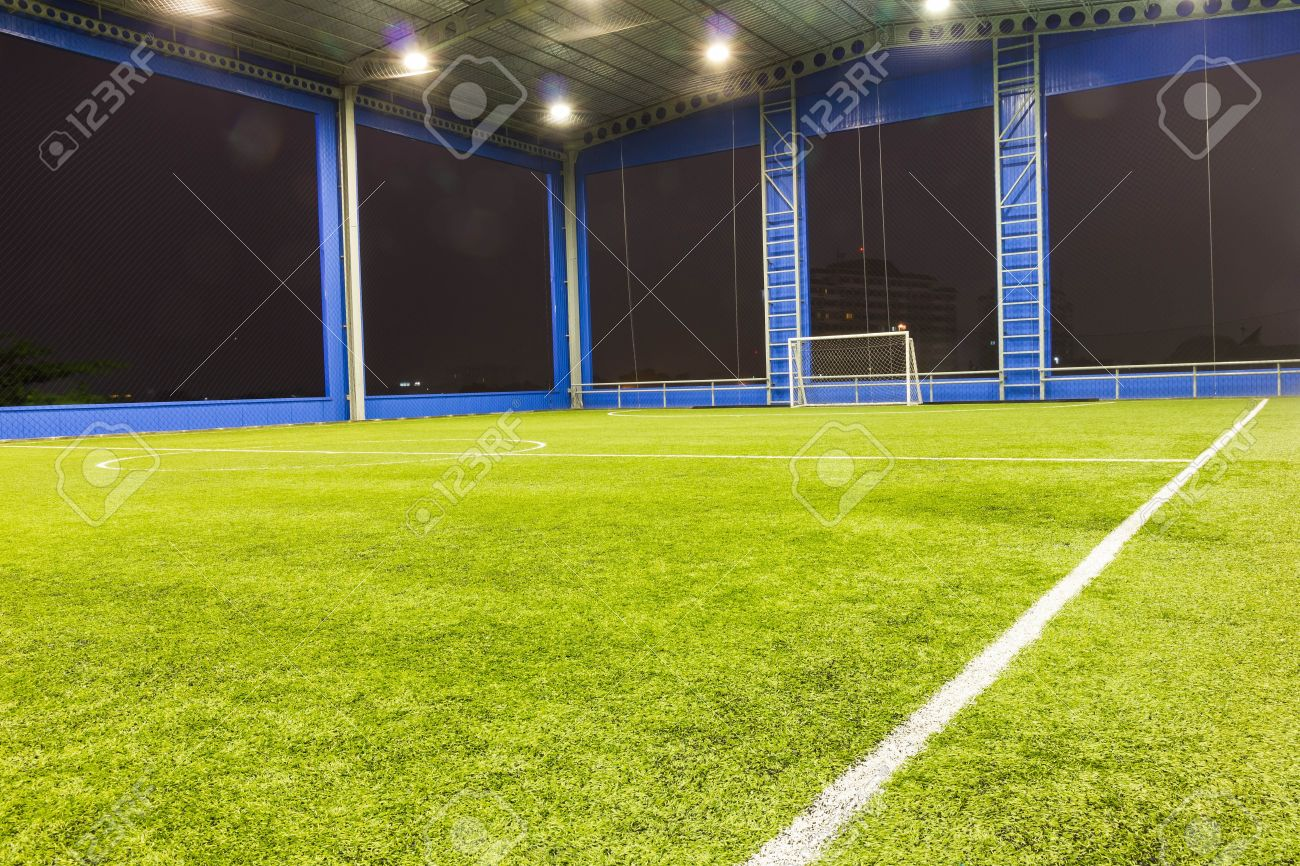 Indoor Football Soccer Goal And Field Stock Photo   15282284