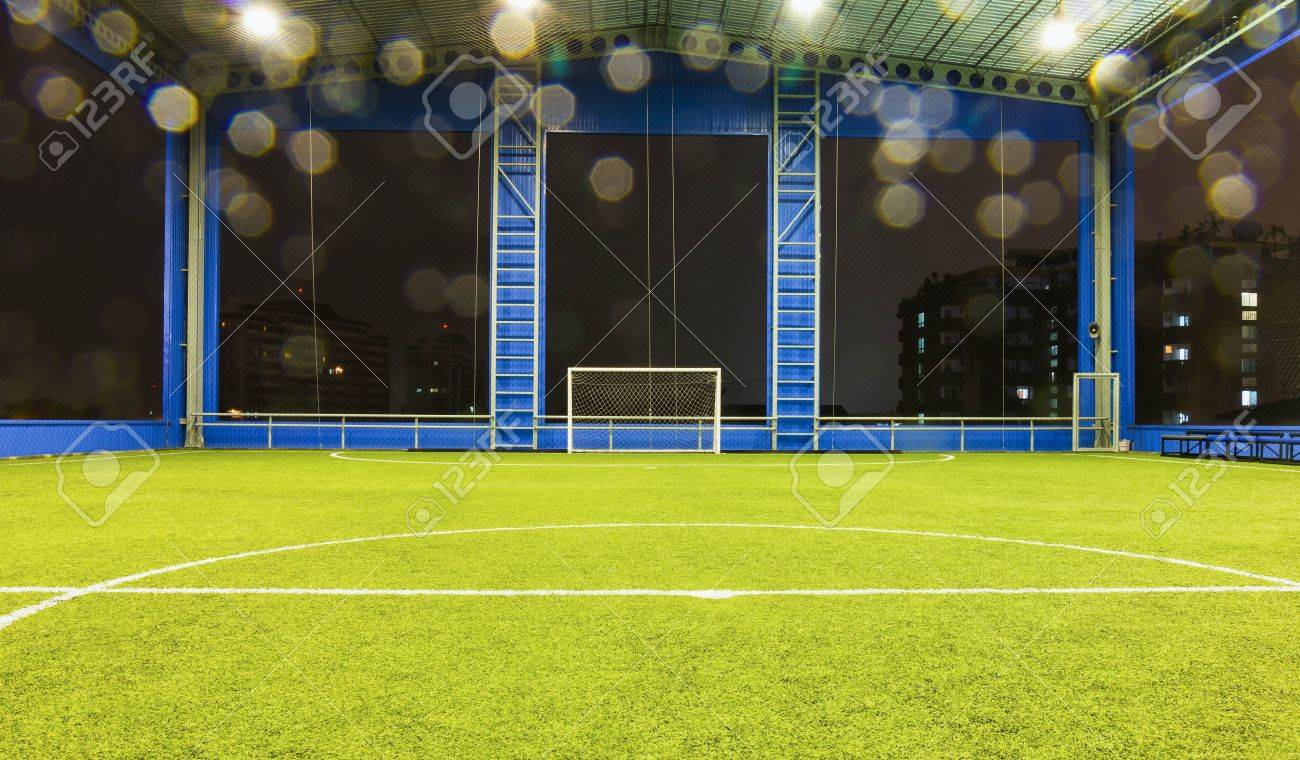 Indoor Football Soccer Goal And Field In Raining Day Stock Photo   15282280