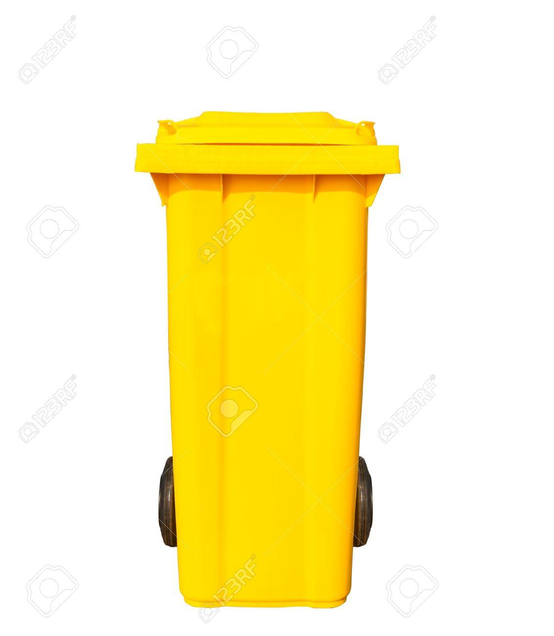 big yellow garbage bin or trash can with black wheels stock photo