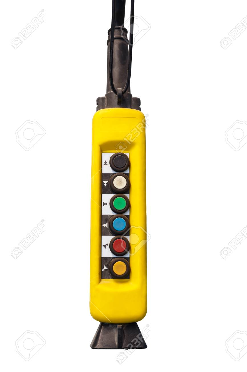 Yellow over head pendant switch on white background stock photo stock photo yellow over head pendant switch on white background mozeypictures Image collections