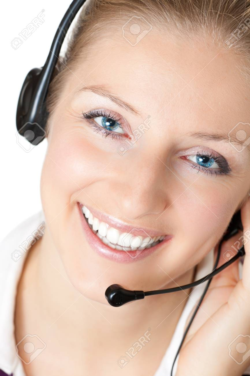 Woman with headphones and microphone Stock Photo - 7012799
