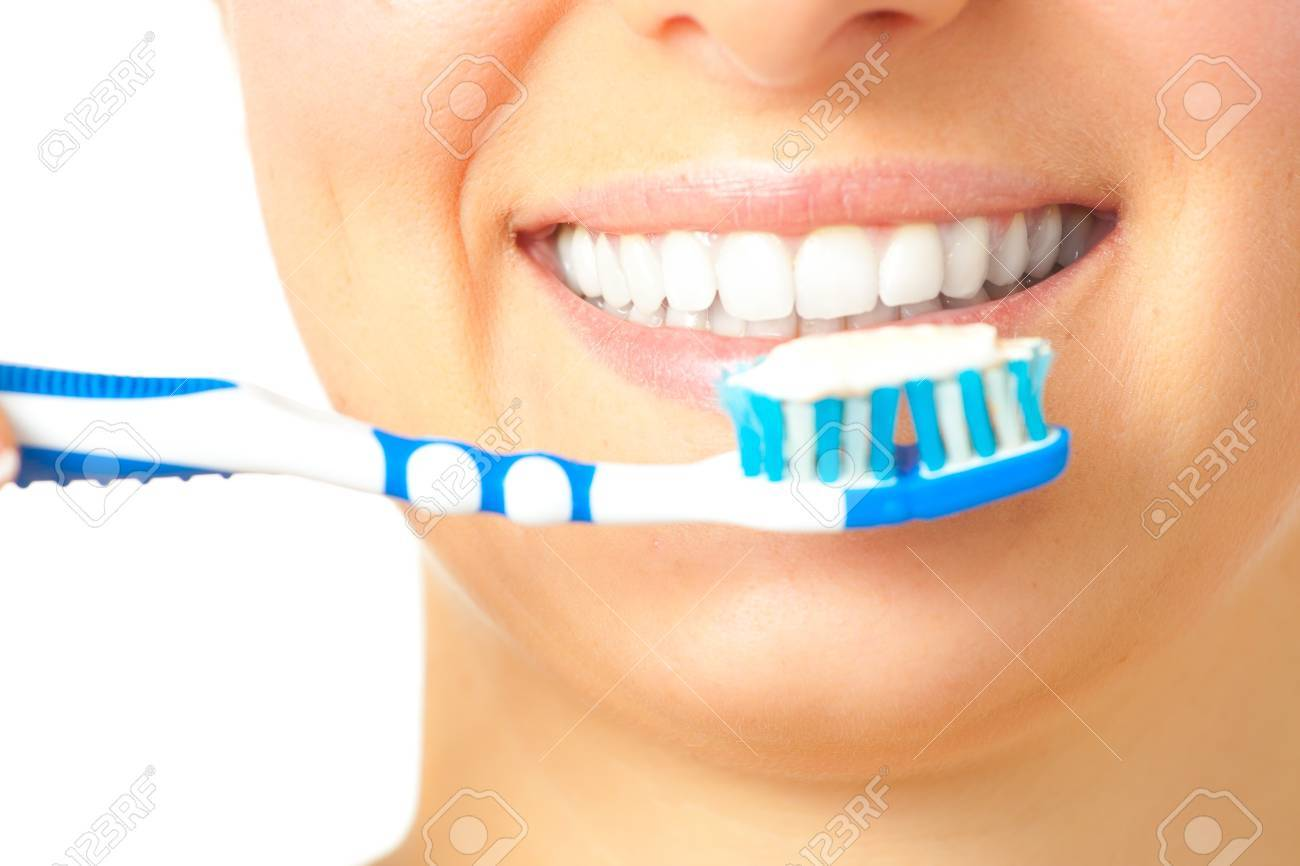 Woman healthy teeth closeup brushing concept Stock Photo - 7021331
