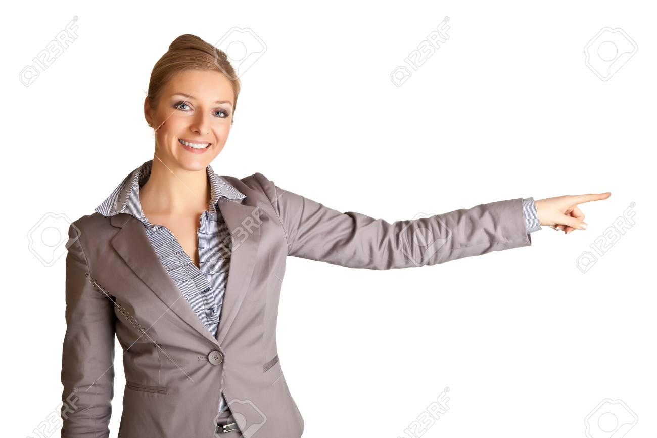 Businesswoman in suit pointing hand isolated on white Stock Photo - 8611854