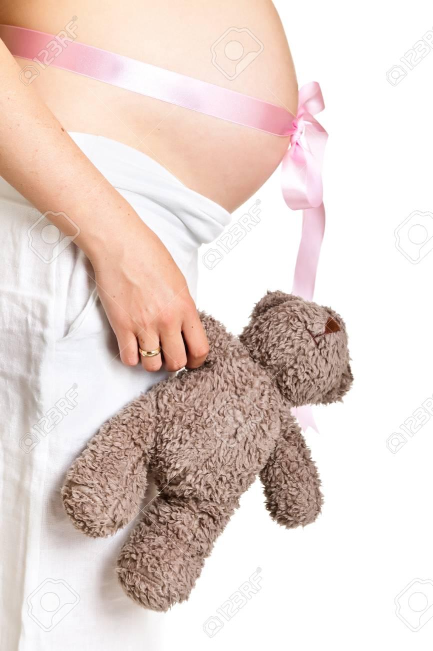 Pregnant woman isolated on white Stock Photo - 9620837