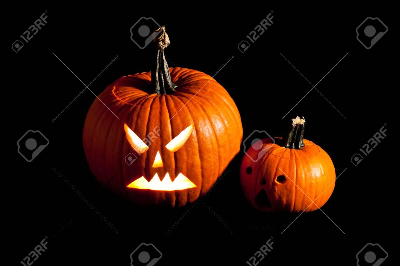 Halloween Gruselig Jack O Lantern Kürbisgesichter Lizenzfreie Fotos