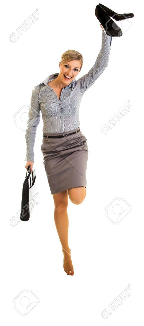 Business woman jumping with happiness isolated on white Stock Photo - 12946271