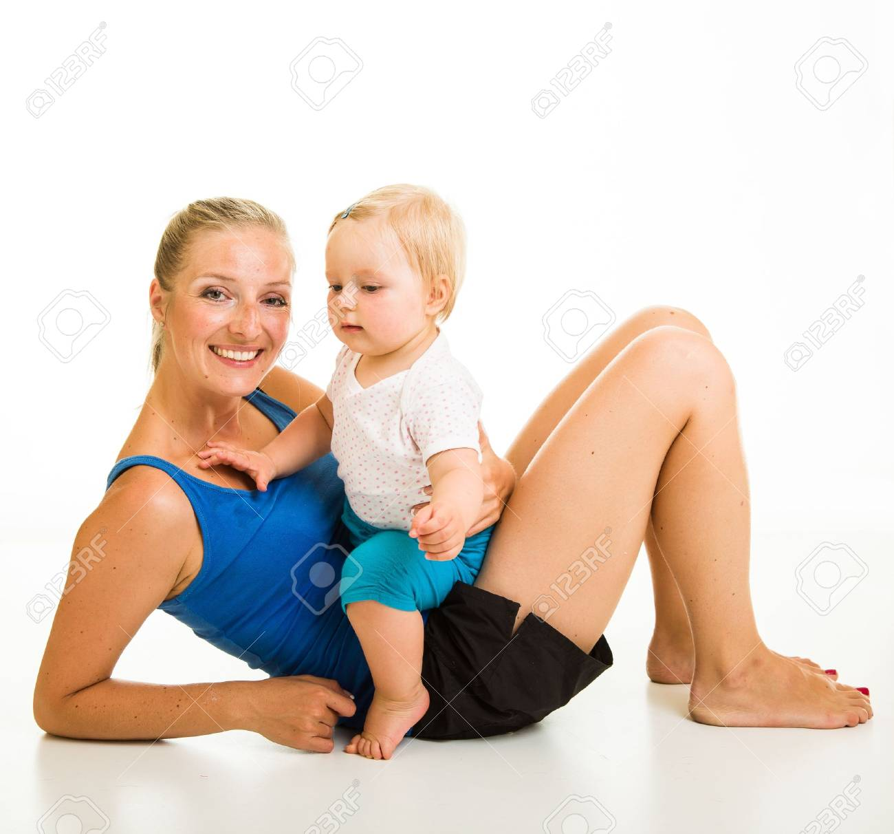 Cute infant girl with mother isolated on white Stock Photo - 15036196