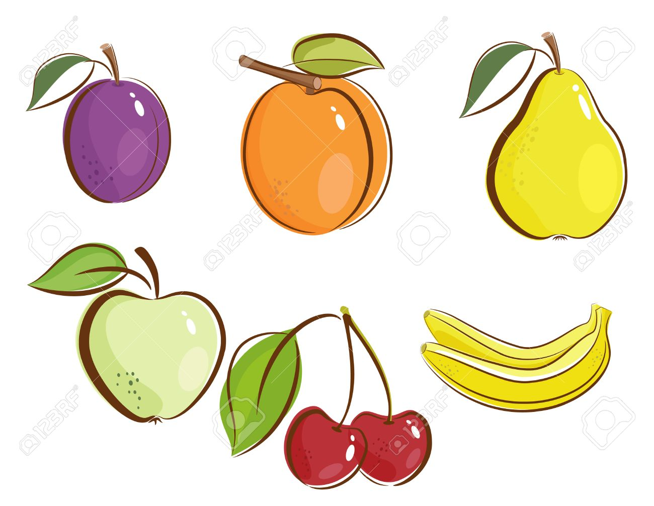 fruits clipart icons royalty free cliparts vectors and stock rh 123rf com fruit clip art to color fruit clipart black and white
