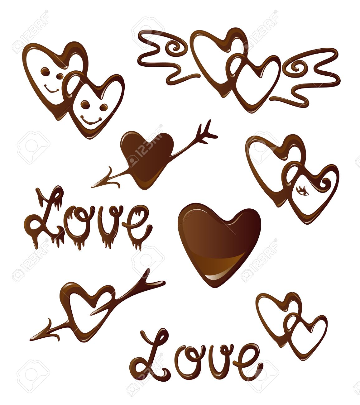 Chocolate Heart And Love Symbols Royalty Free Cliparts Vectors And