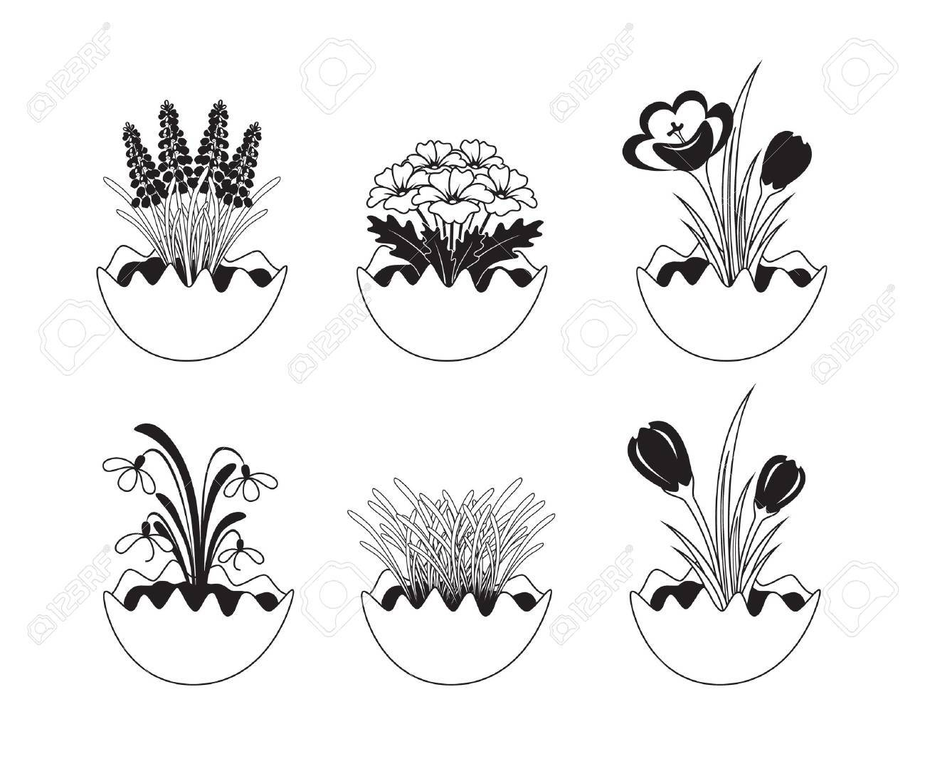 Six Black And White Spring Flowers Icons Royalty Free Cliparts