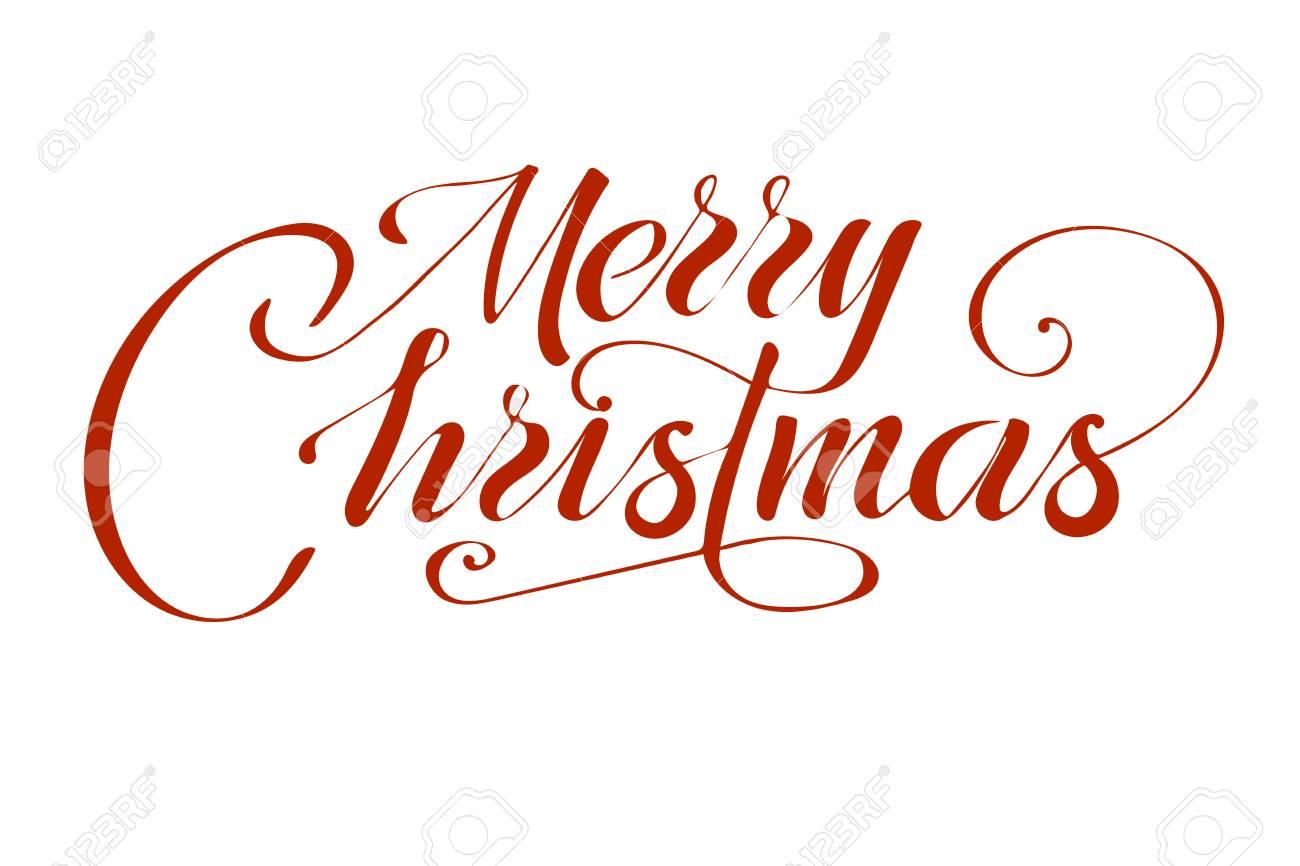 Vector De Texto De Feliz Navidad Sobre Fondo Blanco Letras Para Invitación Boda Y Tarjetas De Felicitación Grabados Y Carteles Inscripción
