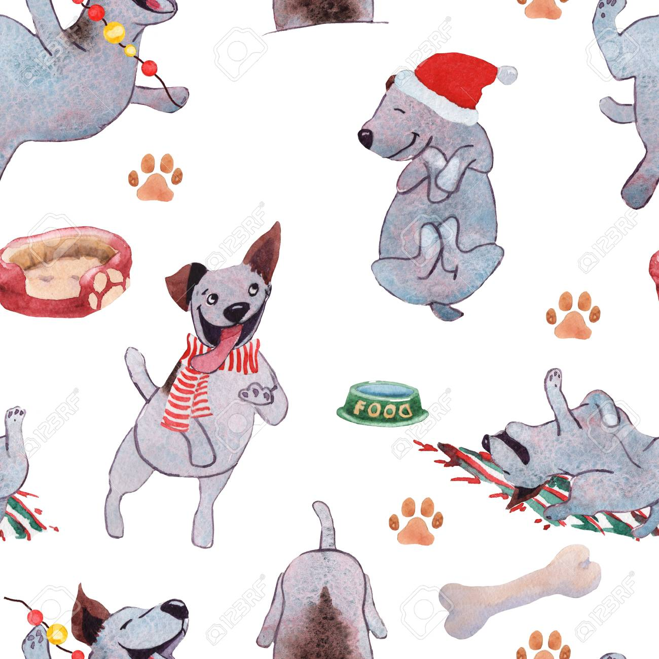 Christmas Puppy Dog Playing With Ball Hand Drawing Watercolor Stock Photo Picture And Royalty Free Image Image 91658705