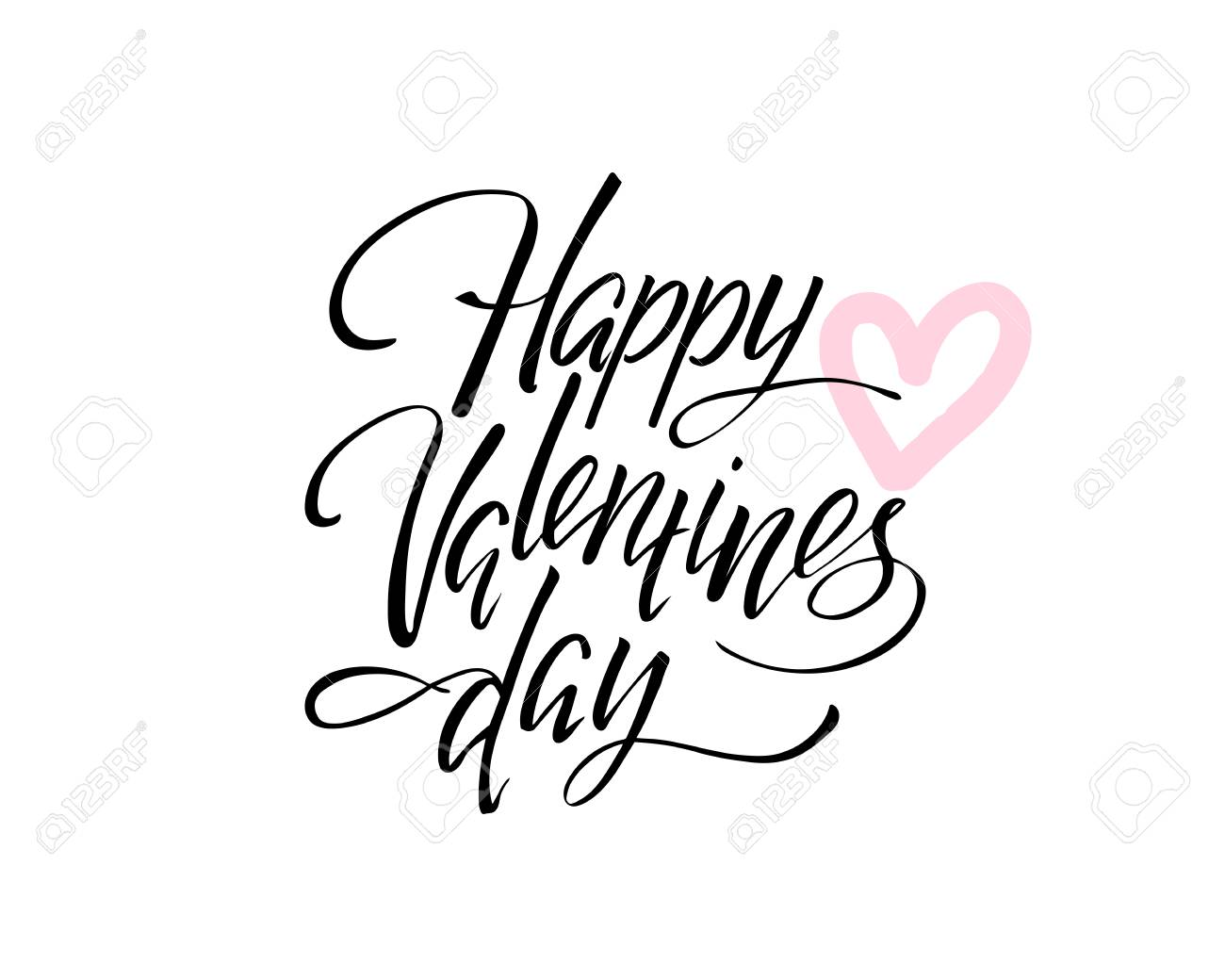 Vector Happy Valentines Day Vintage Card With Lettering Royalty Free