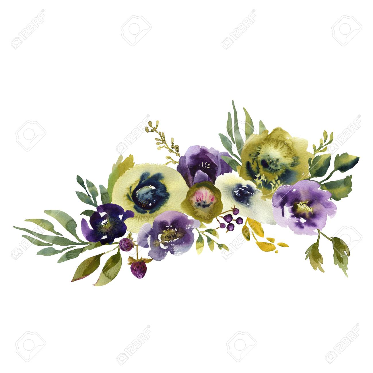 Wedding Bridal Bouquet. Green Blue And Purple Flowers Ornament Stock ...