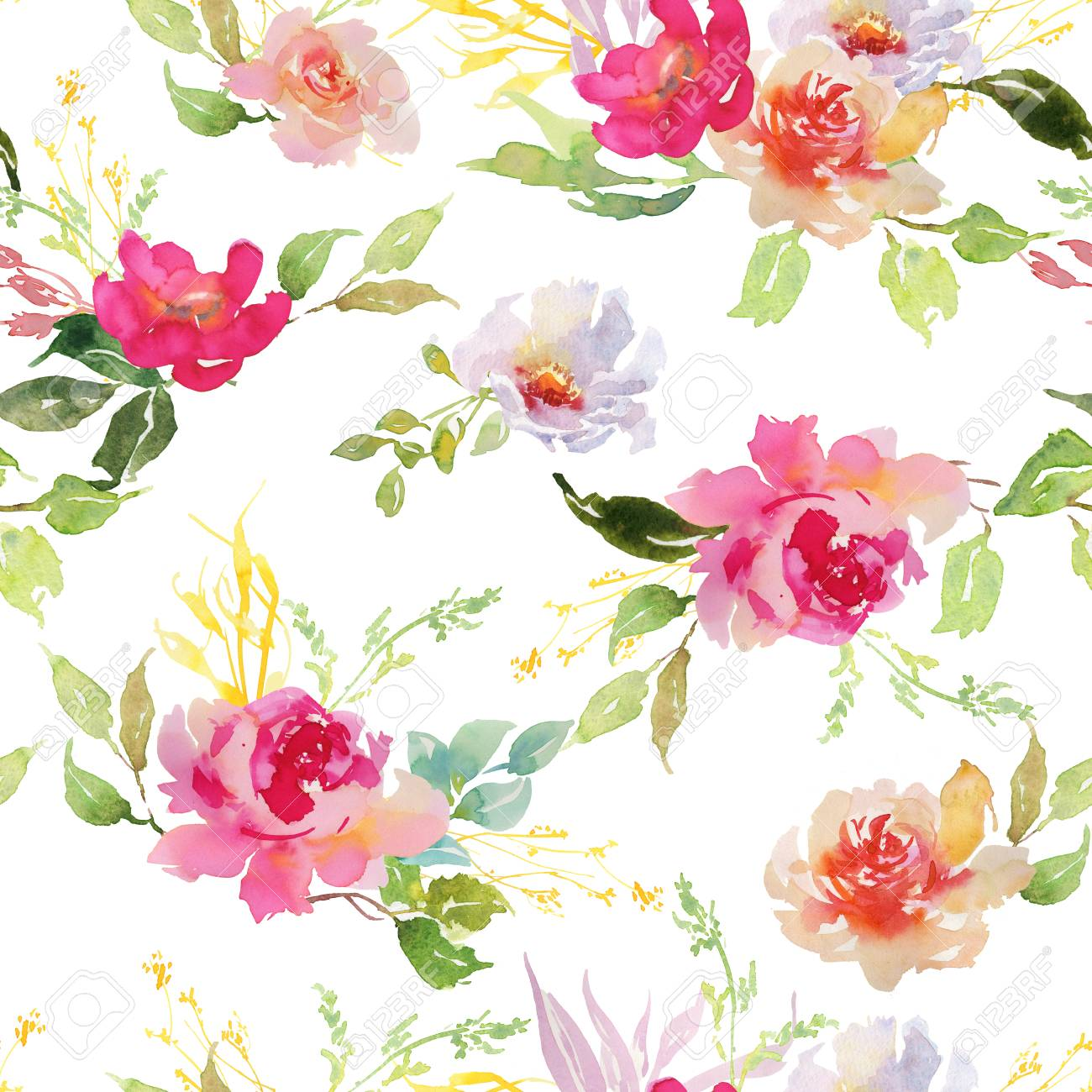 Wedding Bridal Bouquet Seamless Pattern Red And Pink And Green