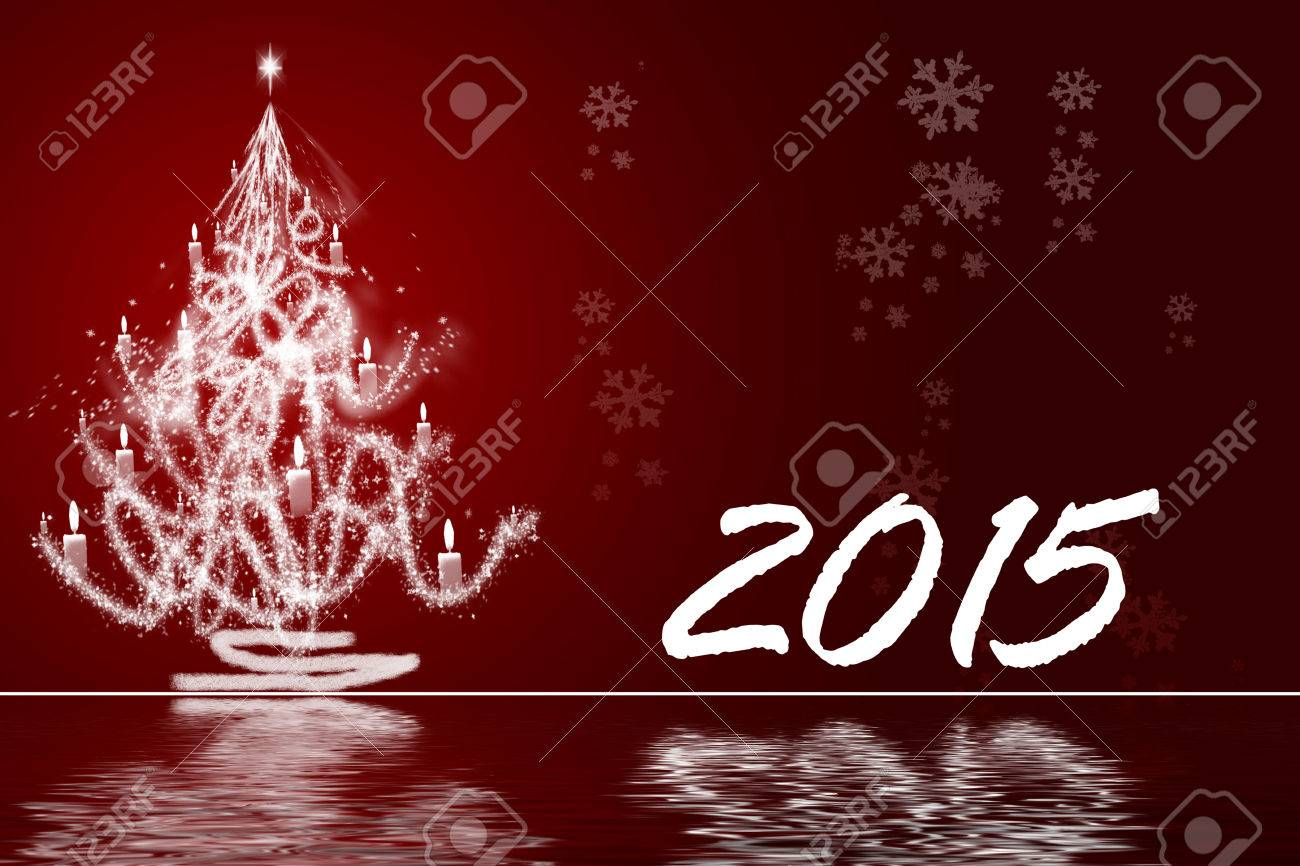 happy new year 2015 greeting facebook background banner with white snowflakes and stars stock photo