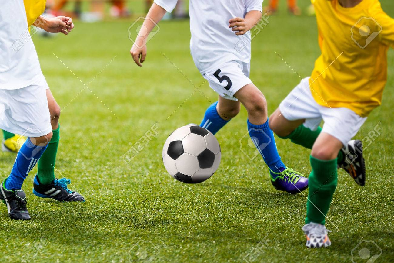 Football soccer training match for young boys - 51866241