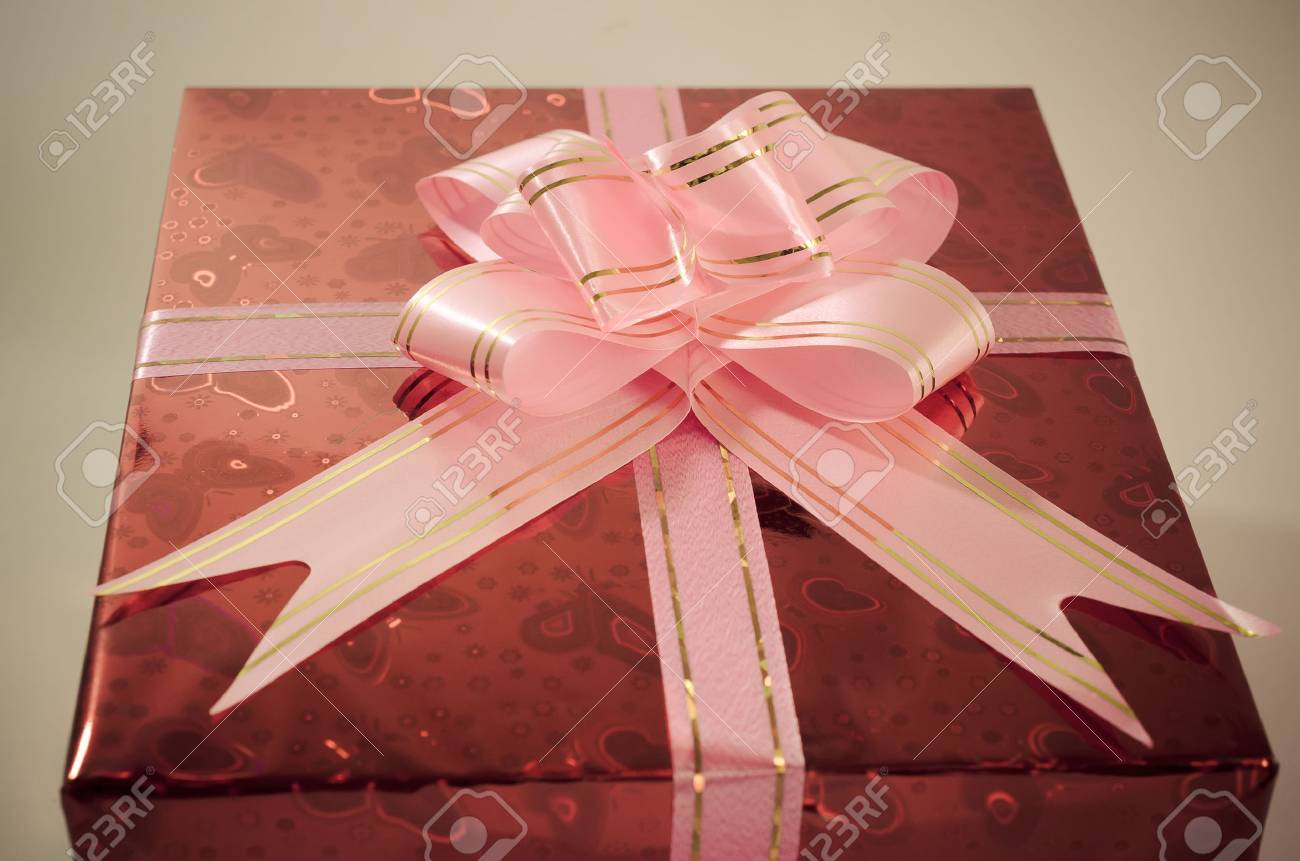 Gift Boxes Color Red With Bows And Ribbons Vintage Style Background ...