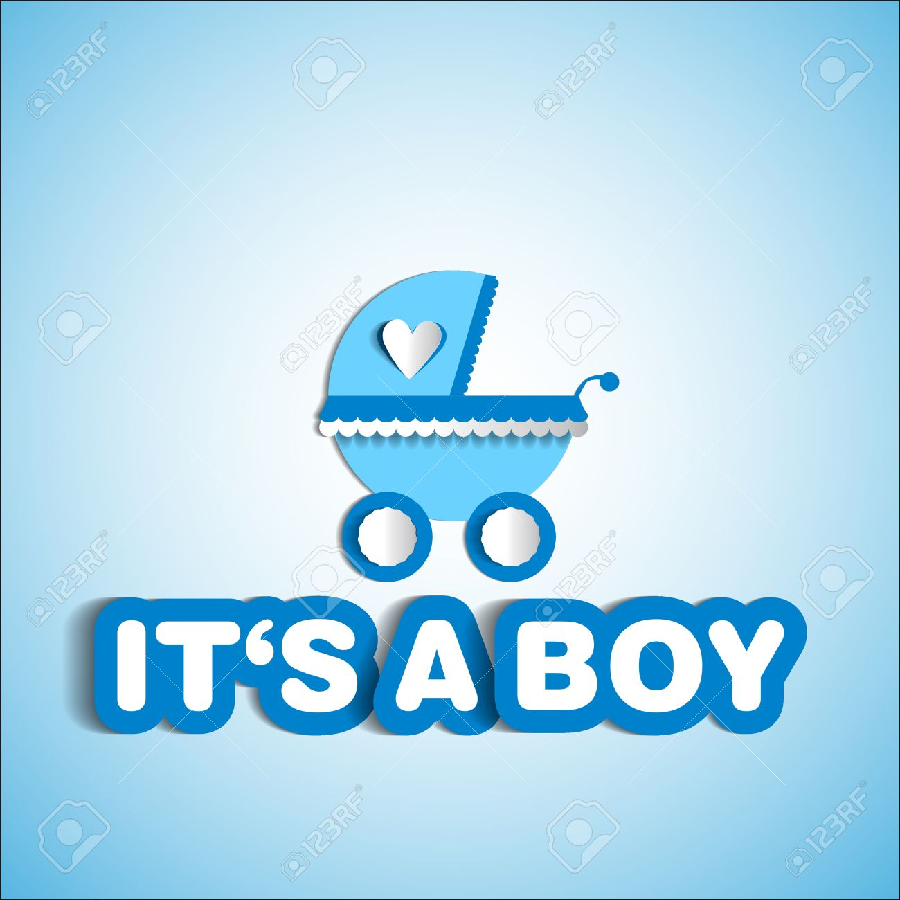 baby card its a boy theme with baby carriage royalty free