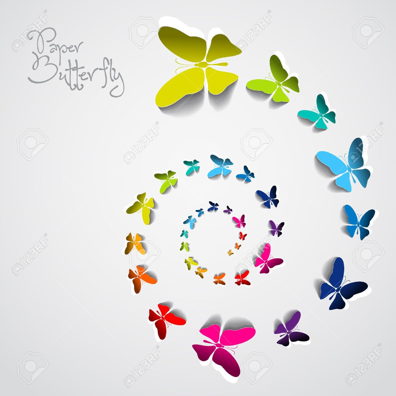 Greeting card with colorful paper butterflies in spiral Stock Vector - 20361257