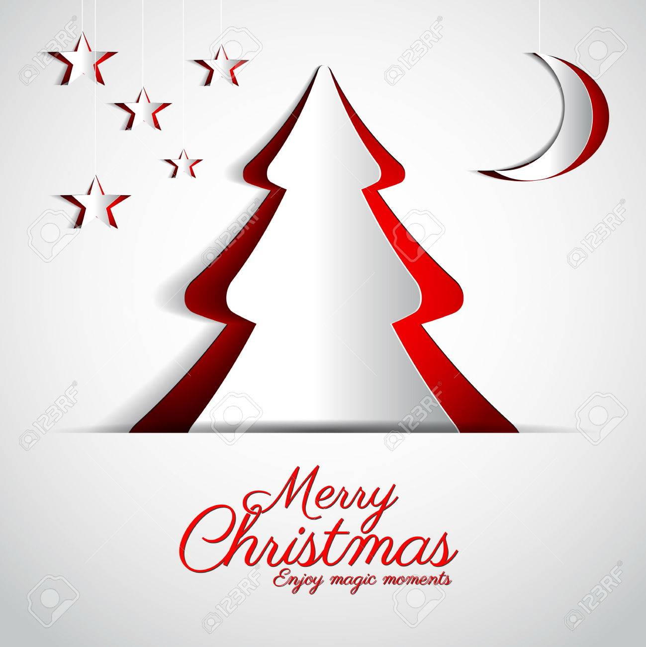 Merry Christmas paper tree design greeting card - vector illustration - 23510083