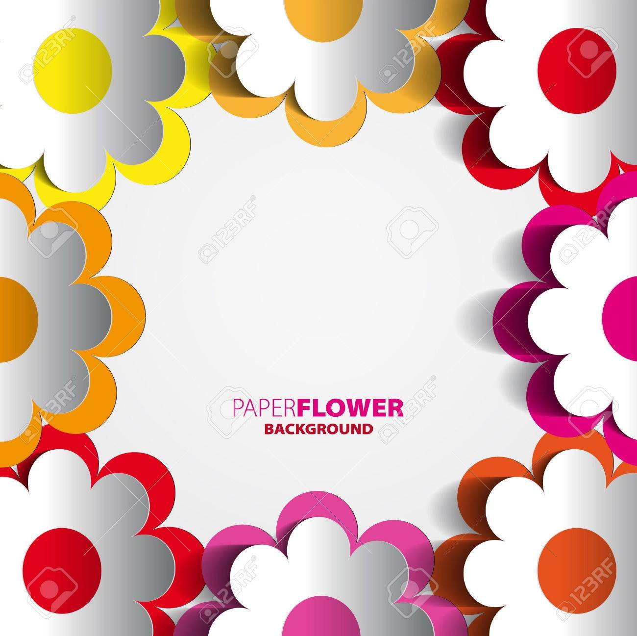 Color Paper Flowers Cutout Background Eps10 Vector Illustration