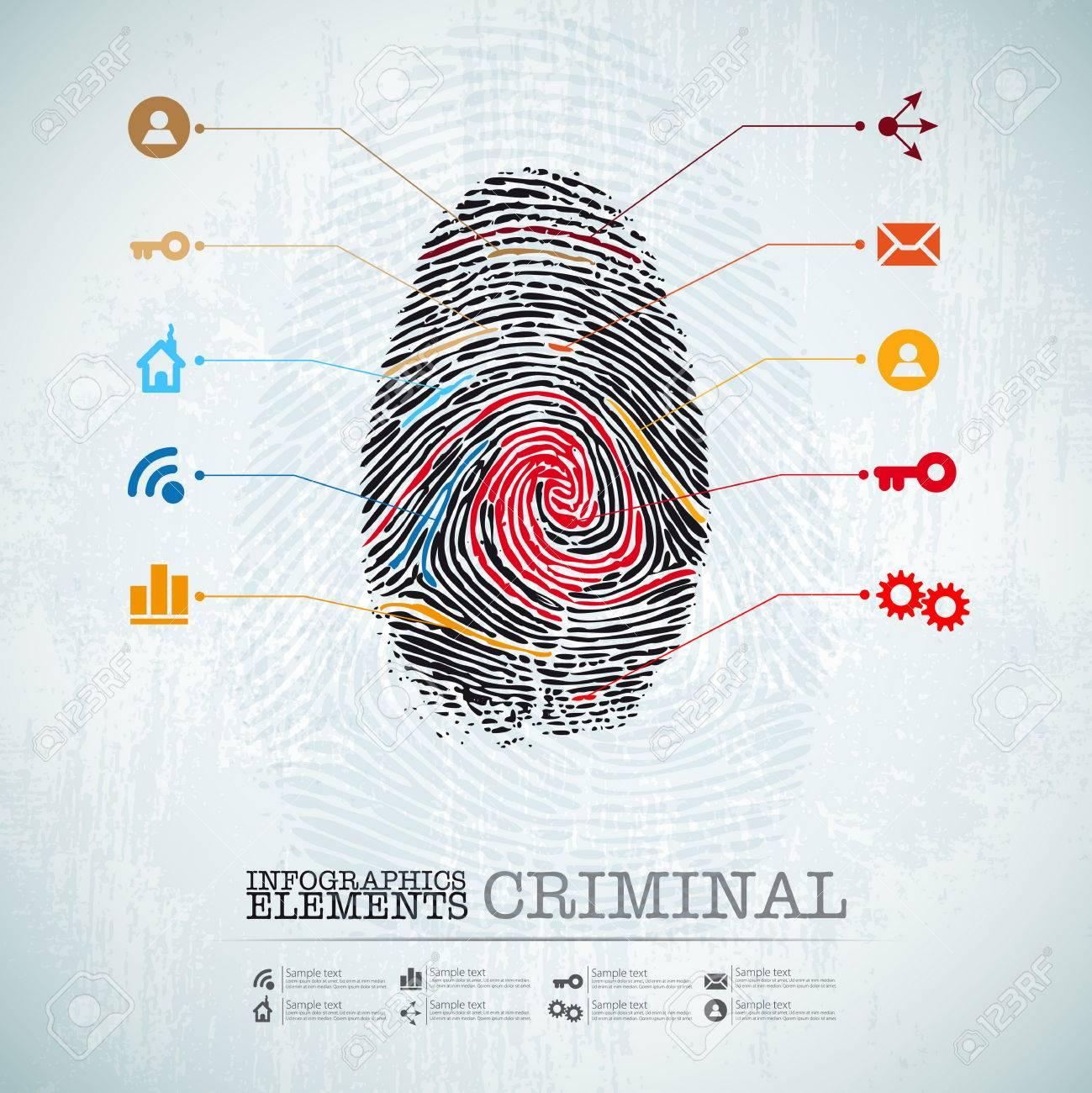 Vector Web Plantilla De Diseño - Tema Penal Sello Dedo - Infografía ...