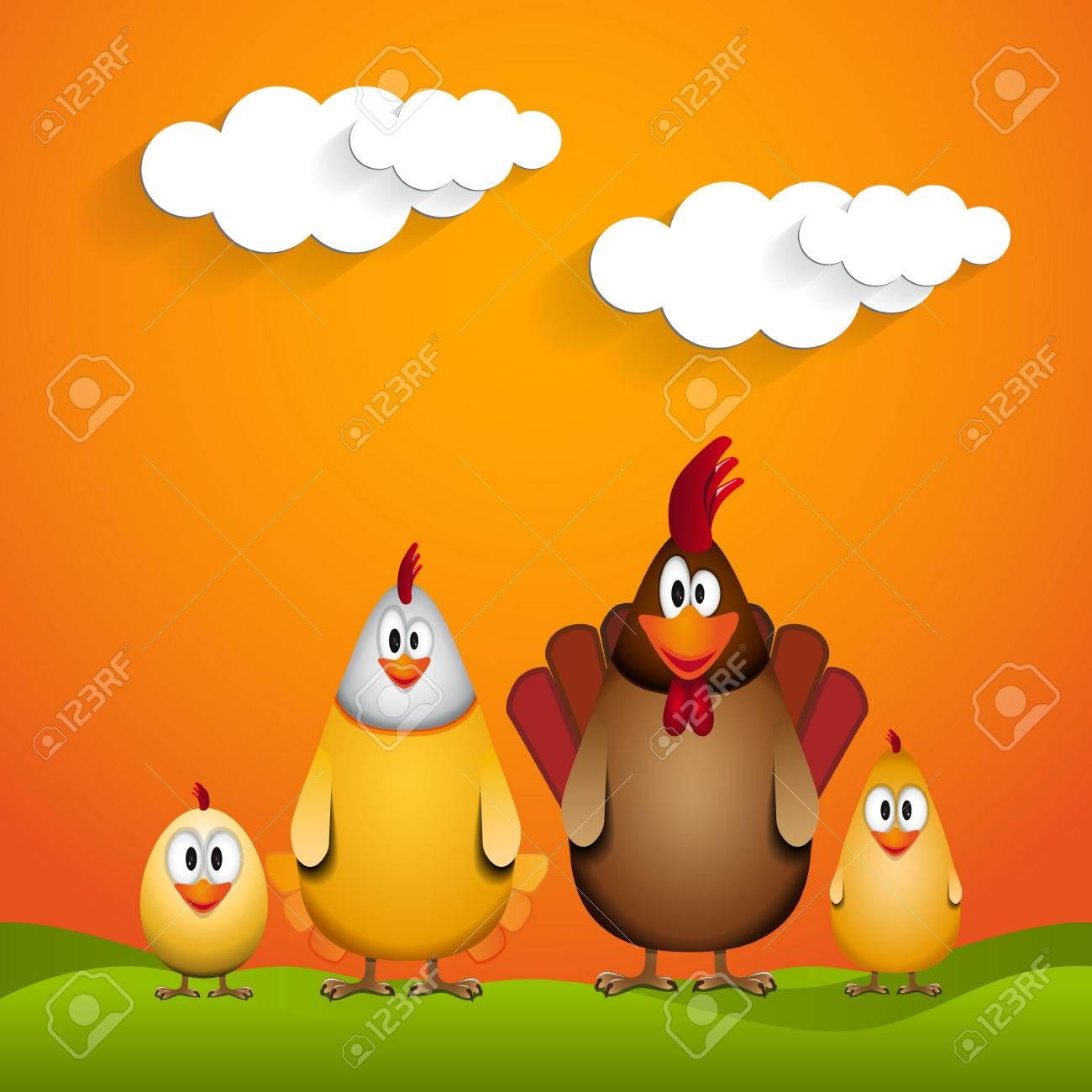 Frohe Ostern Lustige Hühnerfamilie Illustration Lizenzfrei