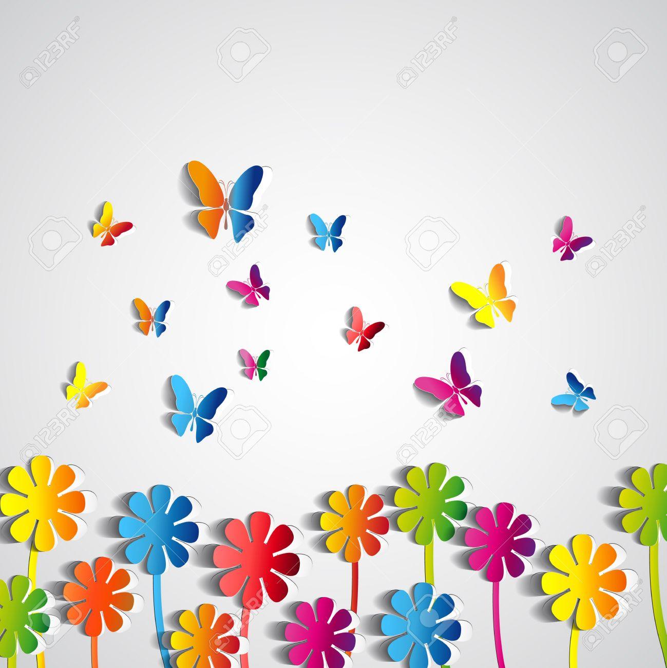 Реферат Цветы фон бумага бабочки весна тема карты вектор  Реферат Цветы фон бумага бабочки весна тема карты вектор Фото со стока
