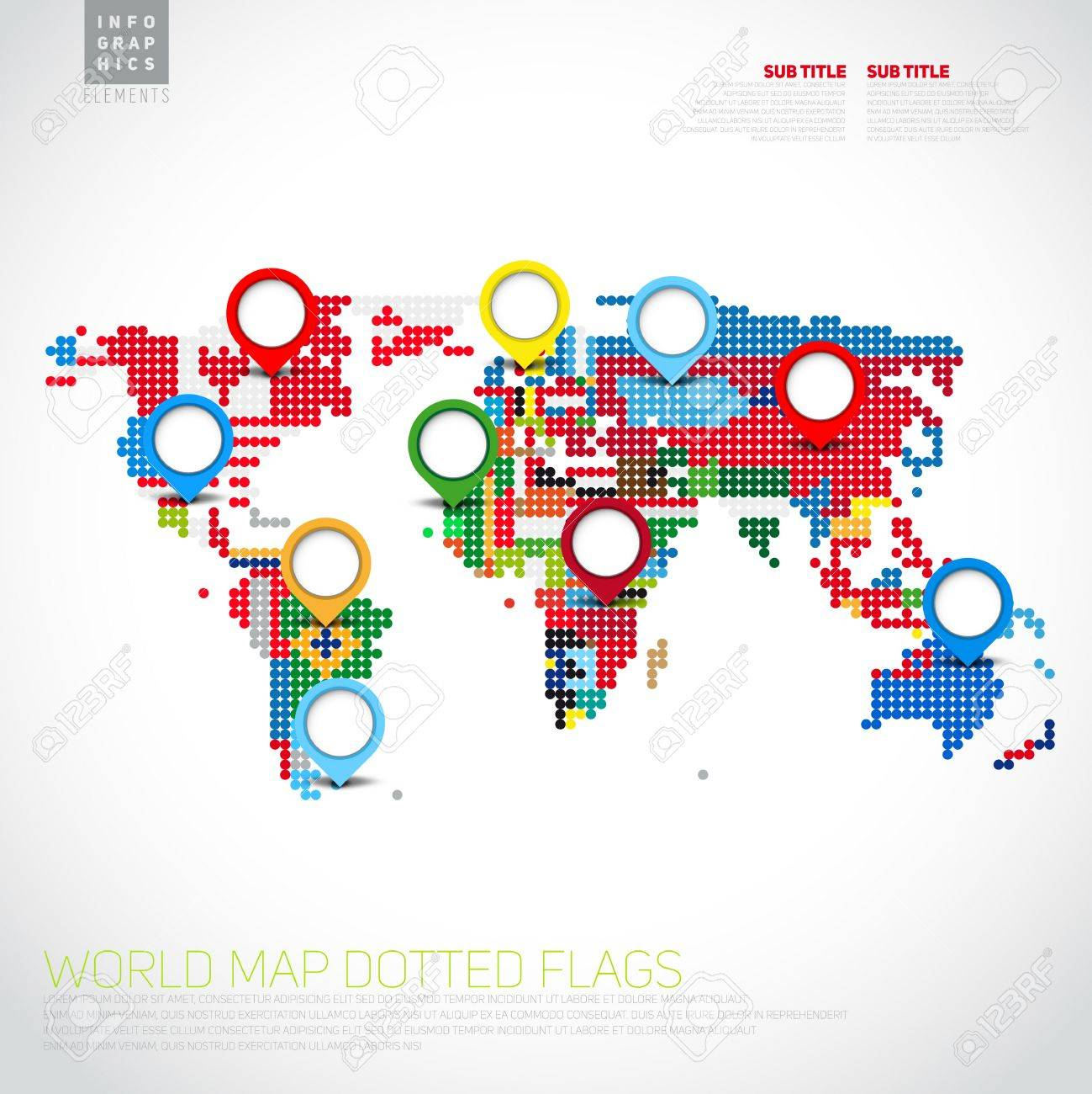 Infographics world map from dots with pointer marks communication infographics world map from dots with pointer marks communication concept stock vector 29266502 gumiabroncs Images